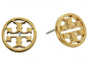 Tory Burch Circle Logo Stud Earrings 16k Gold on Card with Dust Cover
