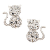 14K Yellow Gold Cubic Zirconia Cat Stud Kids Earrings With Safety Screw Backs