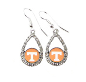 Tennessee Volunteers Teardrop Crystal Orange Charm Earring French Hook Jewellery UT.