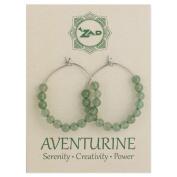 Zad Jewellery Aventurine Hoop Earrings, Green