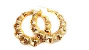 Large Bamboo Hoop Earrings Gold Tone Full 7.6cm Hoops