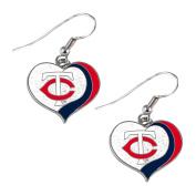 Minnesota Twins MLB Glitter Heart Sports Team Logo Earring Swirl Charm Set