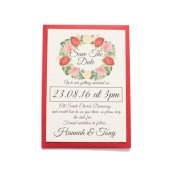 Red Rose Premium Save the Date Card personalised with luxury ivory linen with red envelopes wedding invitation