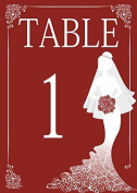 10 x Personalised Wedding Table Number Cards