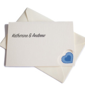 50 Personalised Ivory Linen with Heart Wedding Invitations with 50 Ivory Envelopes COLOUR CHOICE