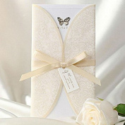 20 X Elegant Ivory Lace Vintage Butterfly Print Tri-fold Wedding Invitation cards, FREE matching envelop, FREE matching blank insert card and FREE seal