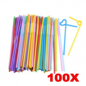 Demiawaking 25cm Disposable Bendable Extra Long Plastic Drinking Straws