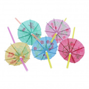 Demiawaking 50pcs Multi Colours Tropical Bendable Umbrella Plastic Straws 24cm