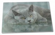 British Blue Cat 'Love You Mum' Extra Large Toughened Glass Cutting, Chopping Bo