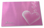 Pink Hearts 'Forever' Sentiment Extra Large Toughened Glass Cutting, Chopping Bo