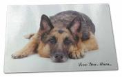 German Shepherd 'Love You Mum' Extra Large Toughened Glass Cutting, Chopping Boa