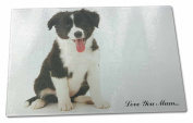 Border Collie 'Love You Mum' Extra Large Toughened Glass Cutting, Chopping Board