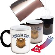 Funny Mugs - 123t Respect The Beard - Beard Moustache Grooming Men Manly Joke Humour COLOUR CHANGING NOVELTY MUG -Christmas Secret Santa
