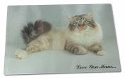 Tabby Birman Cat 'Love You Mum' Extra Large Toughened Glass Cutting, Chopping Bo