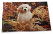 Golden Retriever Pup 'Love You Mum' Extra Large Toughened Glass Cutting, Choppin