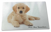 Golden Retriever Pup 'Love You Grandma' Extra Large Toughened Glass Cutting, Cho
