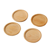 CAN_Deal 4-Pack 14cm Round Natural Beech Wooden Serving Dishes Plates, Food Serving Trays