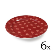 cartaffini – Plate Alpine, with Snowflakes, Red – Diameter 24.5 cm – Melamine with Real Fabric Decoration