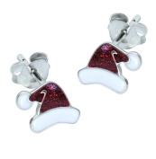 Sterling Silver Christmas Earrings - Santa Hat