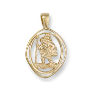 JQS - 9ct Yellow Gold Oval Cut Out Design 20X18mm Lucky St Christopher Pendant 1.8G Chain