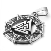 MENDINO Mens Stainless Steel Pendant Viking Valknut Scandinavn Icelandic Odin Symbol Norse Silver Tone Colour With 60cm Link Chain