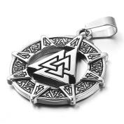 MENDINO Mens Stainless Steel Pendant Viking Valknut Scandinavn Icelandic Odin Symbol Norse Silver Tone Colour With 60cm Link Chain