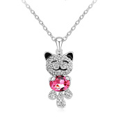 """Acefeel Fashion Jewellery """"Lucky Cat"""" Pendant Made with Elements Crystal Necklace N161"""
