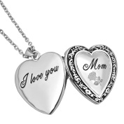 Uniqueen Mother's Gift Heart Engraved Rose Flower I Love You Mum Locket Pendant on Curb Chain 46cm Necklace