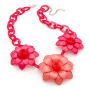 Ladies Large Tropical Flower Statement Necklace/ Fashion Necklace - Pink & Peach