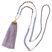 KELITCH Turquoise Crystal Beaded Necklace Tassel Layering Pendant Necklace New Jewellery