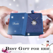 """Silver Necklaces for Women, 925 Sterling Silver CZ Pendant Necklace J.Rosée Jewellery """"Never Ever Be Apart"""" Valentines Best Gifts for Women 46cm +5.1cm Extender"""