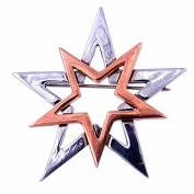 Pewter Two Tone Double Open Star Brooch