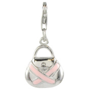 Quiges 925 Sterling Silver Enamel 3D Pink Ribbon Handbag Clip On Charm Pendant