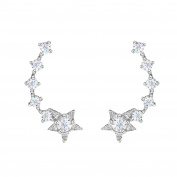 SELOVO 925 Sterling Silver Small Star Earring Cuff Ear Climber Cubic Zirconia Stud for Girls Women