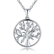 YL Tree of Life Necklace-925 Sterling Silver cut AAA Cubic Zirconia Gemstones Family Tree Jewellery for Women, 45-50cm