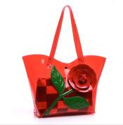 GSHGA New Fashion Jelly Handbag Nutcracker Shoulder Bag Transparent,Red