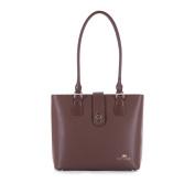 White Women's Shopper Women's Handbag, 9,5x53 29 cm with Genuine Leather, Handmade, 83/4E/410/X, brown (Brown) - 83-4E-410-4