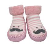 Baby Boy Girl Winter Thick Non-slip Striped Mr. Moustache Slipper Shoe Socks