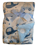 Baby Boys Gorgeous White Blue and Grey Stars Transport Reversible Wrap Blanket
