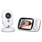 Baby Monitor, Goodsmiley 8.1cm Colour LCD Wireless Digital Audio Video Security Camera with Night Vision, Temperature Monitoring and Two-Way Talkback System