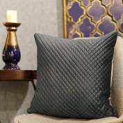 Valery Madelyn Deluxe Grey Christmas Cushion Cover Decorative Lustre Velvet Solid Pillow Cover with Breathable Quilting Design