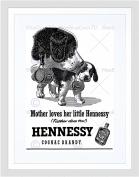 ADVERT DRINK ALCOHOL COGNAC BRANDY ST BERNARD DOG FRAMED ART PRINT B12X5729