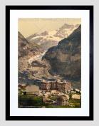 VINTAGE LANDSCAPE ALPINE GLACIER GRINDELWALD SWITZERLAND FRAMED PRINT B12X10383