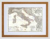 MAP ILLUSTRATED ANTIQUE SPRUNER ITALY BATTLE ACTIUM ART PRINT B12X4981