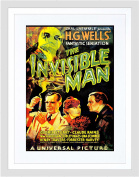 MOVIE FILM INVISIBLE MAN HG WELLS CLASSIC HORROR SCI FI FRAMED PRINT B12X12153