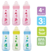 Pack of 3 MAM Baby Bottles with Fast Flow Teat - 330ml Pink, Blue,