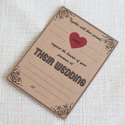 20 x Brown with red Rustic Wedding Invitations with Brown Envelopes