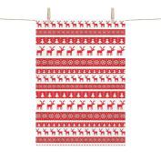 Festive Rustic Red & White Nordic REINDEER / SNOWFLAKE/ CHRISTMAS TREE Kitchen Tea Towel 100% Cotton