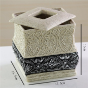 Tissue Holders Tissue Box European Square High Resin Tissue Box Luxury Living Room Drawer Box Vintage Paper Box Paper Table Paper Roll TANG CHAO