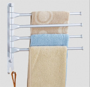 ZXLIFE@Kitchen Furniture Towel BarMovable towel rack bar Space aluminium Rotate Towel rack Double bar Hand towel Towel hanging Double layer , upgrade 4 bar
